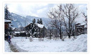 Beautiful and snowy View of Manali